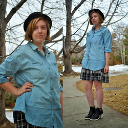 Elizabeth Claire - H&M Bowler Hat, Old Navy Chambray Shirt, Target Plaid Dress, New Look Black And White Ankle Boots - Chambray and Plaid