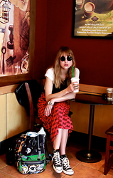 Eli Ole - Splash Sunnies, Michael Kors Watch, Splash Dress, Converse, Kenzo Backpack, Asos T Shirt, Dkny Leather Jacket - Starbucks