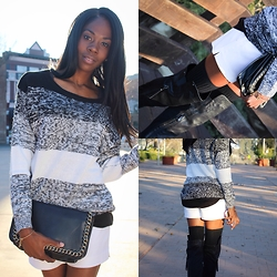 Nikki - H&M Oversized Sweater, Bakers Thigh High Boots, Forever 21 High Waisted Shorts - Shorts and Thigh Highs