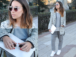 Claudia Villanueva - Topshop Sunglasses, Zara Grey Sweater, Asos Tweed Jacket, Zara White Clutch, Mango Khaki Green Harem Pants, Bershka White Sneakers - Soft & Light
