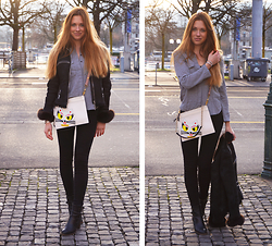 Eugenies - Gaito Black Jacket, Kickers Black Shoes, Mango Grey Blouse, Karl Lagerfeld Bag, Zara Black Pants - Sunny Wednesday