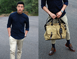 Jono Kwan - Zara Collarless Button Up, Fossil Silver Blueface Watch, Cedarwood State Beige Carry Bag, Cole Haan Lunar Grandes, Uniqlo Beige Chinos - Beige 'n Blue