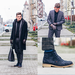 Florian Roser - Kilian Kerner Coat, Souve Bag, Strellson Boots, Asos Suit, Ugg Gloves, Uniqlo Sweater - Squared Wednesday
