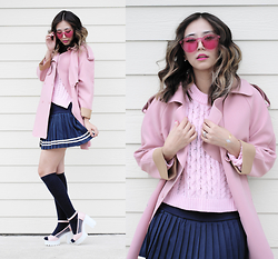 Queen Horsfall - Polette, Oasap Sailor Mini Skirt, Chicnova Long Sleeves Pink (Similar), Chic Wish Pink Coat (Similar) - Valentine Outfit