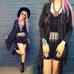 Sera Brand - Style Moi Angled Hem Cardigan With Leather Look Fringe Trims, Style Moi Open Back Playsuit With Twisted Straps, Jolly Chic Black Boots - Twisted