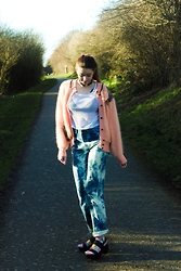 Nichola Rose - We Are Cow Fishnet Top, We Are Cow Mohair Cardigan, We Are Cow Tie Dye Jeans - ME AND YOU ME AND YOU ME AND YOU