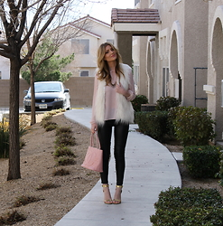 Lindsey Simon - H&M Vest, Forever 21 Forever21 Blouse, H&M Leather Pants, Chanel Bag, Michael Antonio Gold Heeled Sandals - Pastel Pink (on a girl who hates pink)