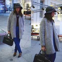 Silvia Rodriguez - Bdba Hat, Zara Coat, Zara Pants, Manolo Blahnik Shoes - Klein pants