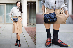 Katia Peneva - Zara Sweater, Zara Skirt, Céline Shoes, Chanel Bag - Les Beiges