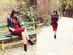 Dosta Radnjanska - Poppy Lux Dress, Modlily Jacket, Zara Boots - Marsala body-con dress