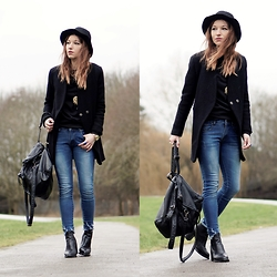 Agata P - Choies Jeans, H&M Hat, Romwe Coat, Black Five Boots - You Can Count On Me Like One Two Three