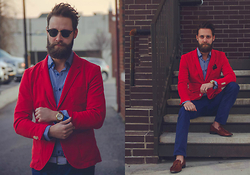 Kris M - Zara Red Blazer, Dapper Time Skeleton Gold Watch, Aldo White Cloth Belt, J. Crew Navy Jeans, Zara Tan Leather Tassel Slippers, Ray Ban Sunglasses, Macy's Blue Shirt W/Double Collar - Urban Patriot