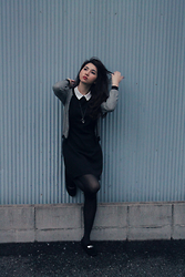 Aki Ataka - Earth Music & Ecology Dogstooth Cardigan, Coach Loafers, Forever 21 Collared Dress - Monochrome