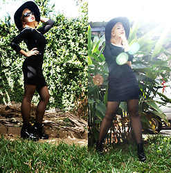 Katrina Doloricon - H&M Hat, Forever 21 Bodycon Dress, H&M Boots, Sunnies Sunglasses - Sunny day