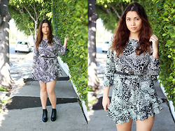 Sofia Nilsson - Dkny Animal Print Dress, Steve Madden Boots - Animal Print Dress