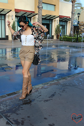 Brittniss Monster - Styles For Less Romper, Styles For Less Floral Kimono, Guess? Boots, Coach Bag - I can fly