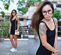Clair De Lune Wild Rose - Forever 21 Little Black Dress, Emoda Spectacles, Mango Nude Bag, Forever 21 White Sneakers - Tan in Black