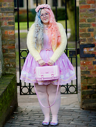 Georgina Doull - Handmade Dress, Floozie Bag, Le Bunny Bleu Shoes, Handmade Headband, Simply Be Cardigan, Primark Belt - I'm gonna ruin you if you let me stay
