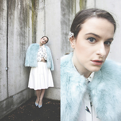 Jules - Zara Faux Fur Jacket, Zara Blouse, Zara Skirt, Zara Shoes, H&M Ear Cuff - The Faux Fur Jacket