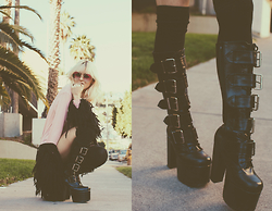 Rachel Lynch - Wildfox Boss Girl Tee, Demonia Boots, Nasty Gal Black Shag - LA BOSS GIRL