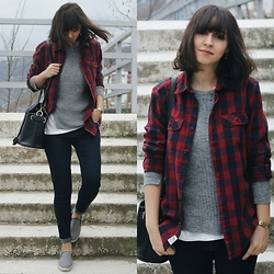Duygu Trgt - H&M Plaid Shirt, Pull & Bear Sweater, Zara Bag - Change