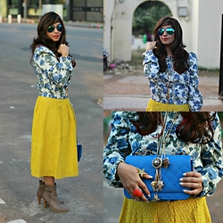 Surbhi Suri - Only Floral Jacket, Skirt, Damilano Boots, Platinum Mall Bangkok Bag, Persun Reflectors, Necklace - Sunny Valentines look