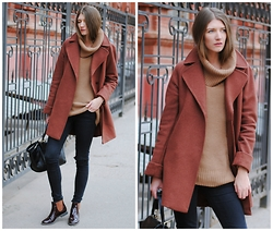 Yulia Sidorenko - Windsmoor Coat, H&M Sweater, Denim&Co Jeans, Centro Boots, Chic Wish Bag - Terracotta сoat