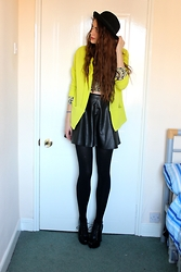 Laurel Elizabeth - H&M Bowler Hat, New Look Lime Blazer, New Look Long Sleeved Aztec Print Croptop, New Look Faux Leather Skirt, Bebo Lace Up Heeled Shoe Boots - When The Days Are Cold