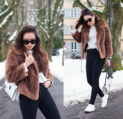 Romina Ch - Zerouv Sunglasses, Vintage Fur Coat, Calvin Klein Bag, Zara Shoes - A la Twiggy
