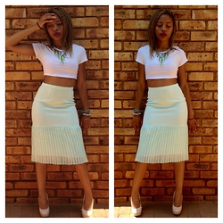 Gontse Mathabathe - Spike Neck Piece, White Crop Top, Nick Coutts Highwaisted Pastel Skirt - +Sunday Best+