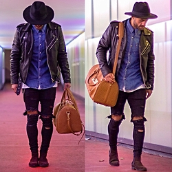 Kosta Williams - H&M Fedora, Levi's® Jeans Shirt, Smj Style Biker Jacket, Asos Destroyed ( Selfmade ), H&M Chelsea Boots, Bahge Duffle Bag - Switchin lanes