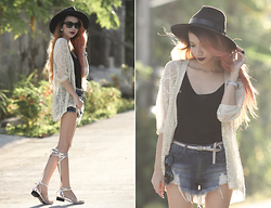 Wicked Ying NEW - In Love With Fashion Knit Cardigan, Oasap Wide Brim Hat - Quite the Rebel