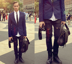Mykola Hruts - Asos Navy Slim Fit Blazer, Topman Leather Postman Bag, Diy Ripped Jeans - LIKE I CAN