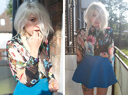 Lyvia Aylward-Davies - H&M Floral Shirt, American Apparel Blue Denim Circle Skirt - Doritos are my valentine.