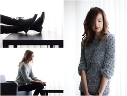 Lorietta.cz - Chic Wish Grey Fluffy Jumper, H&M Black Lace Up Boots, H&M Skinny Pants - Warm Fluffy Jumper