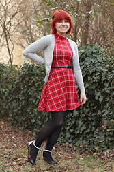 Jamie Rose - Forever 21 Red Plaid Mock Neck Dress, H&M Gray Cardigan, Walmart Black Tights, Steve Madden Black And White Flats - Red Plaid & Two Toned Flats
