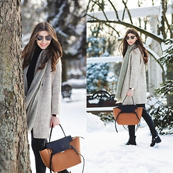 Larisa Costea - Romwe Coat, Frontrowshop Sweater, Sheinside Scarf, Jessica Buurman Bag - Snow again