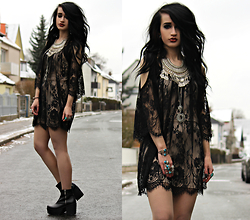 Tessa Diamondly - Lace Tunic, Urban Outfitters Necklace - You just gotta find the ones worth suffering for.