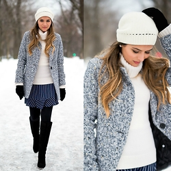 Pam Hetlinger - Sheinside Grey Coat, J. Crew Striped Skirt - Winter Wonderland