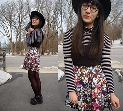 Sheila - Aeropostale Striped Longsleeve Turtleneck, Floral Skirt, Chunky Boots - Mixin'