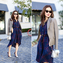 Elizabeth Lee (Stylewich) - Anthropologie Plaid Shirtdress, Sandro Bag, Super Sunglasses, Juicy Couture Blazer - Dressed Up Plaid