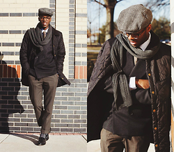 Andy Jackson - Montebello Dark Grey Double Breasted Blazer, Asos Brown Trousers, Allen Edmonds Black Penny Loafers, Old Navy Paperboy Cap - Those Bundled Days