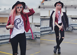 Amy Valentine - Social Decay Yin Yang Tee, Ark Clothing Black Ripped Knee Jeans, Spy Love Buy Chunky Boots, Missguided Burgundy Biker Jacket, Oasap Shearling Coat, Zerouv Silver Rim Sunglasses, Kerol D Achille Hat - PAST EVERY BETTER JUDGEMENT