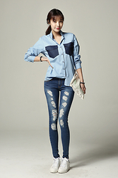 Fashion1164 - Color Denim Shirt Pocket Blouse - Color denim shirt pocket blouse