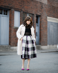 Diana Z Wang - Theory Pullover, Asos Plaid Full Midi Skirt, H&M Oversized Coat, Nasty Gal Heels, Saint Laurent Bag - Pink Cuz It's That Time of the Year
