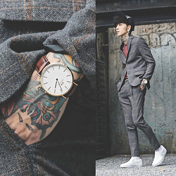 IVAN Chang - Daniel Wellington Watch, Topman Skinny Fit Suits, Fred Perry Polo Shirt, Vans Slip On Casual Fun - 100215 TODAY STYLE