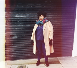 Tiffany Tucker - Asos Midi Coat, Asos Boyfriend Tee, Evans Ultra Stretch Skinny Jeans, Doc Marten 1461 - Tipping Round London