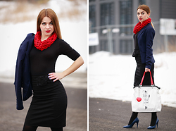 Katarzyna Gorlej - Centro Bag, Isa Flower Hand Knit Scarf, Orsay Jacket, Venezia High Heels - IDEAL DRESS = NO STRESS & NO DRESS