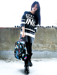 Jessiez C - Unif Sweater, Dr. Martens Boots, Joyrich Backpack - _Black
