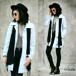 KENDALL SANCHÈZ - Forever 21 Black Hat, Round Sunglasses, Forever 21 Statement Choker, Powder Blue Coat, Forever 21 Striped Turtleneck, Standards & Practices High Waisted Denim, Forever 21 Black Lace Up Booties - .Fax Shadow.